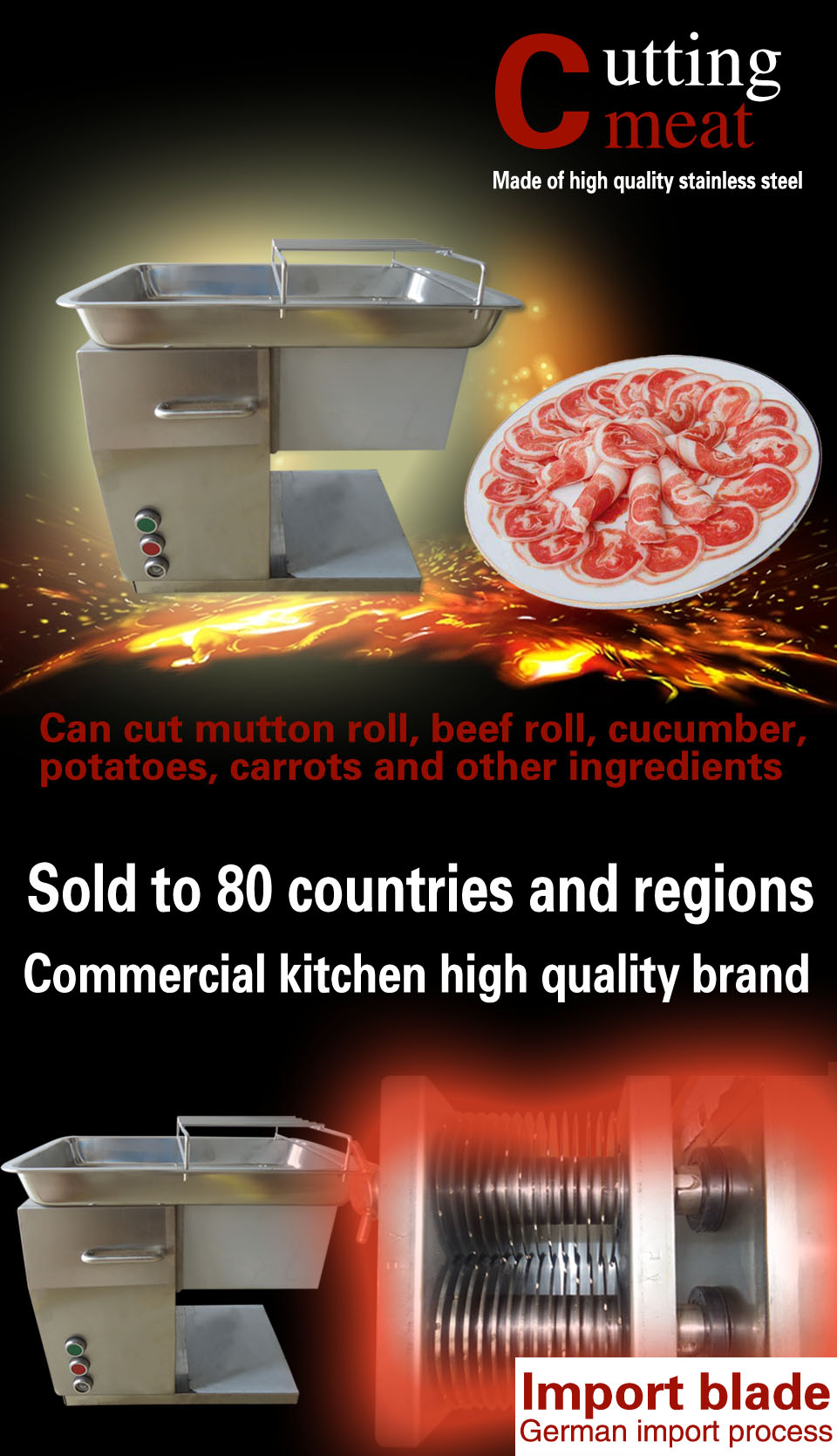 250Kg Hour Stainless Steel Meat Cutting Machine Restaurant Beef Cutter Slicer