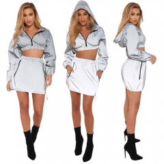 Reflective hoodies Sports and leisure suit women's long sleeve pullover windbreaker two-piece luminous clothing hot Street leisure