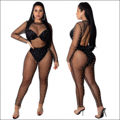 Lady See Through Pearls Trousers Sexy High Waist Mesh Beaded Jumpsuit